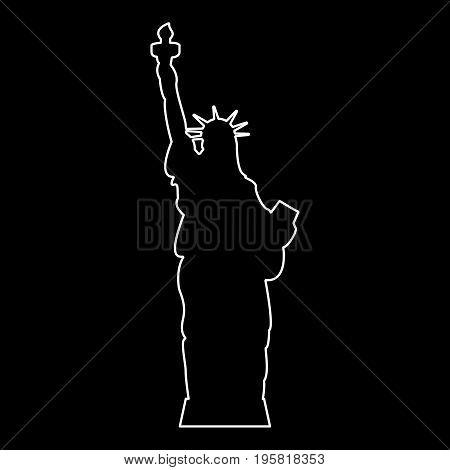 Statue Of Liberty White Color Path  Icon .