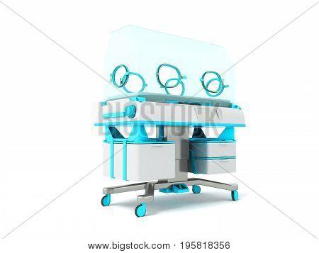 Incubator For Children Blue 3D Rendering On White Background