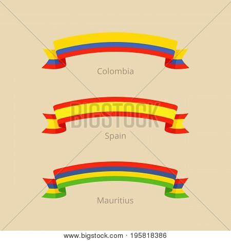 Ribbon With Flag Of Colombia, Spain And Mauritius.