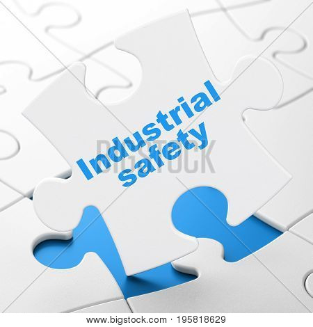 Building construction concept: Industrial Safety on White puzzle pieces background, 3D rendering
