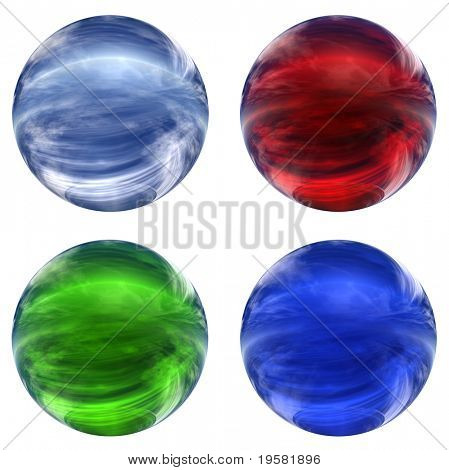 3d blue, red and green glass spheres collection isolated on white background,ideal for 3D symbols, signs or web buttons. It is a sphere reflecting a blue sky with clouds