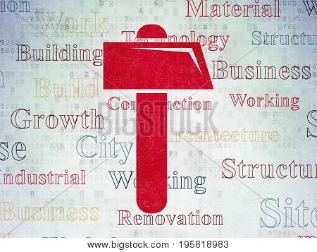 Building construction concept: Painted red Hammer icon on Digital Data Paper background with  Tag Cloud