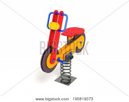 Gaming Attraction For Children On The Spring Red Blue Orange 3D Render On A White Background