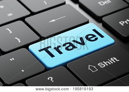 Tourism concept: computer keyboard with word Travel, selected focus on enter button background, 3D rendering