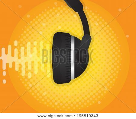 abstract sound wave with headphone and halftone background vector illustration