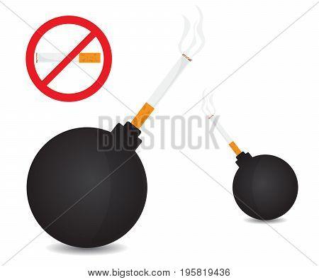 world no tobacco bomb with tobacco vector illustration