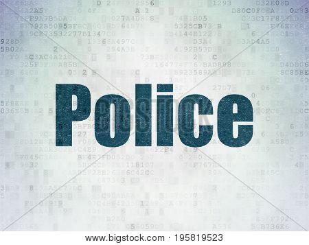 Law concept: Painted blue word Police on Digital Data Paper background