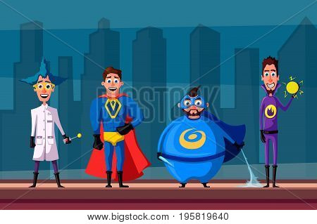 Set of superhero. Cartoon vector illustratration. People on the roof. City on background. Comics characters