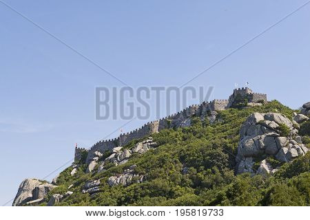 South wall of the moorish castle at the top of the sierra of sintra Portugal