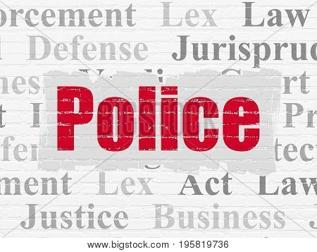 Law concept: Painted red text Police on White Brick wall background with  Tag Cloud