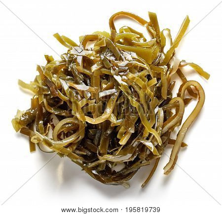 Heap Of Laminaria Seaweed Isolated On White, From Above
