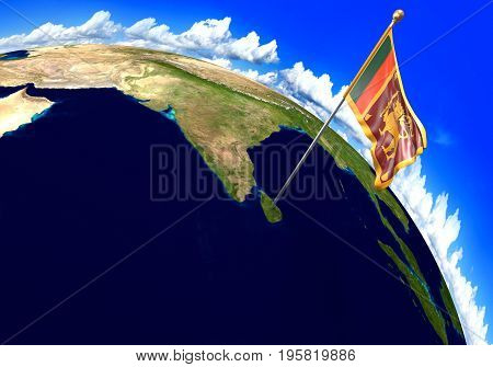 Sri Lanka national flag marking the country location on world map. 3D rendering, parts of this image furnished by NASA
