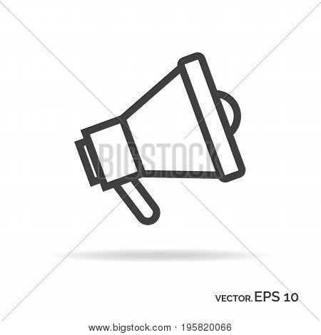 Loudspeaker outline icon black color. Vector Illustration