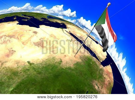 Sudan national flag marking the country location on world map. 3D rendering, parts of this image furnished by NASA
