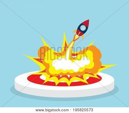 rocket launch fron dart board target vector illustration