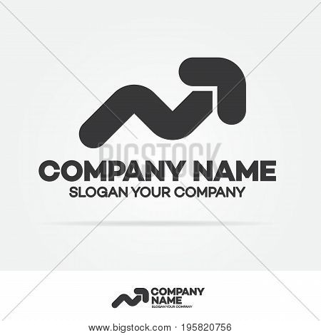 Progress logo with arrow up black color for growing success business company identity isolated on white background. Modern glossy growth graph symbol. Vector Illustration