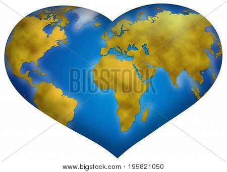 Entire world planisphere in heart shape digital illustration