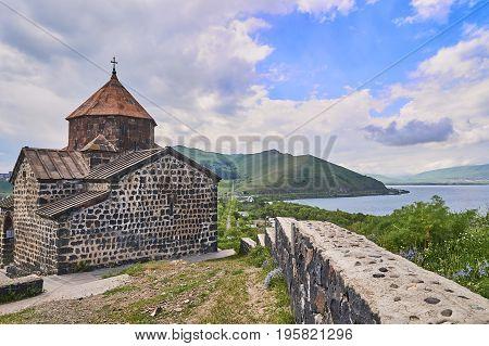 Beautiful armenian monastery Sevanavank lokated near a lake Sevan