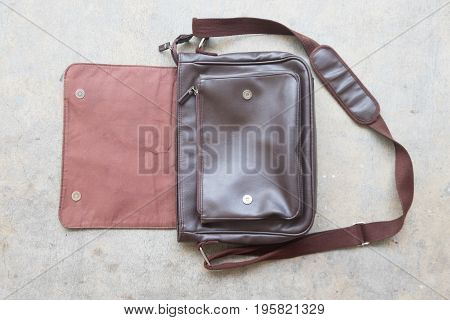 brown leather bag for men top view