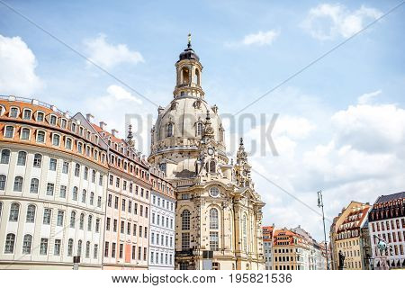 View on the famous church of Our Lady in Dresden city, Germany