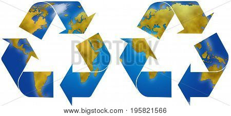 World planisphere in two different recycle symbols digital illustration