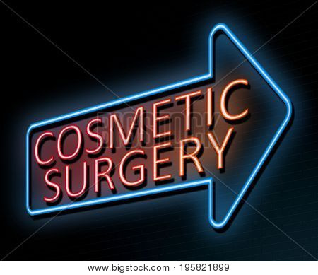 3d Illustration depicting an illuminated neon sign with a cosmetic surgery concept.