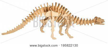wooden toy dinosaur skeleton isolated on white background