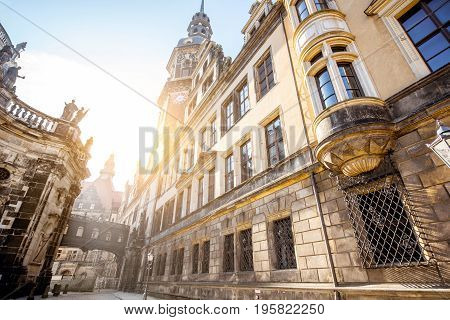 View on the old castle wall and Hausmannsturm tower in Dresden city during the sunrise in Germany