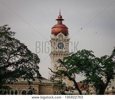 Clock tower of Sultan Abdul Samad in Kuala Lumpur Malaysia.