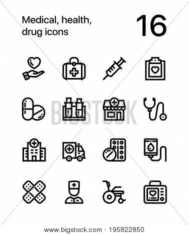 Medical, health, drug icons for web and mobile design pack 1