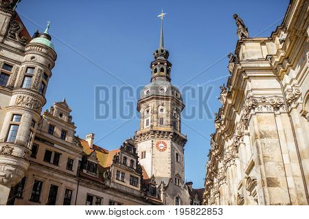 Close-up view on the Hausmannsturm tower of the old castle in Dresden, Germany