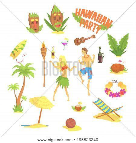 Hawaiian party set, Hawaii symbols vector Illustrations on a white background