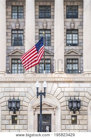 Department of Commerce Washington DC US, Colonnade with American flag flying