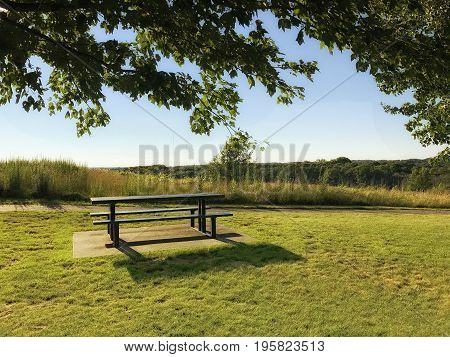 picnic table and benches in the park. place for a barbecue in a public park. Copy space for your text