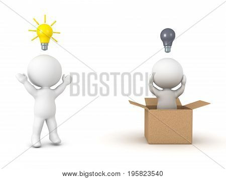 3D illustration depicting the concept of thinking outside the box. Isolated on white.