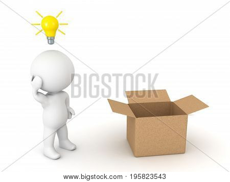 3D Character thinking outside the box. Isolated on white.