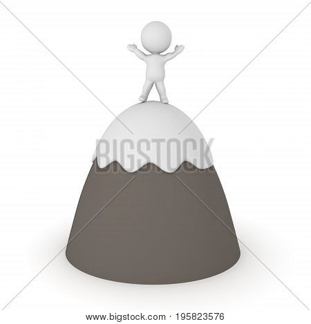 3D Character on top of mountain with his arms raised. Image can depict the concept of overcoming adversity.