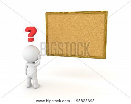 3D Character looking at empty vision cork board. Isolated on white.