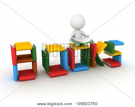3D Illustration depicting the passion for reading book. Isolated on white.