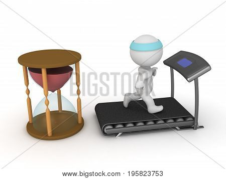 3D Character running on treadmill while time is passing. Isolated on white.