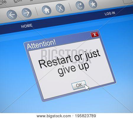 Restart Or Give Up Concept.