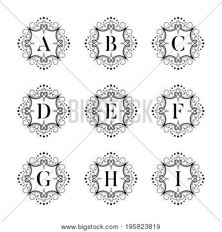 Set luxury vector alphabet on the white background. Letters alphabet with floral. Classic vector logo alphabet. Luxury Font. Alphabet Letters. Vector illustration, eps8. eps10