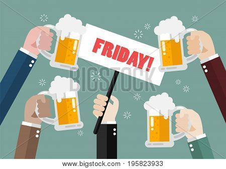 Hands holding friday sign concept. Vector illustration