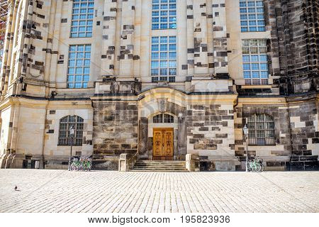 Close-up view on the facade of the famous church of Our Lady in Dresden city, Germany