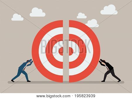 Two businessmen pushing a pieces of big target together