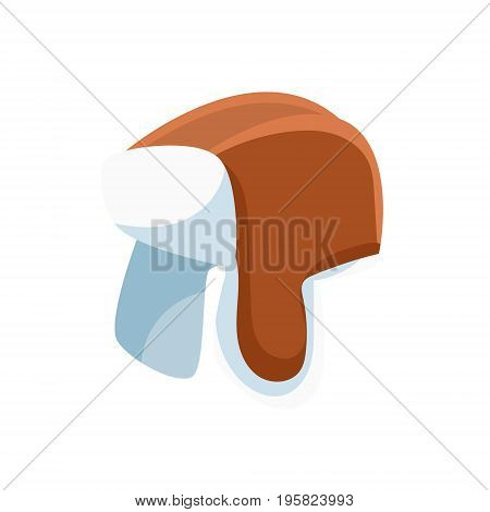 Fur hat with ear flaps vector Illustration on a white background
