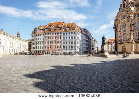View on the main city square with beautiful buildings during the sunrise in Dresden city, Germany