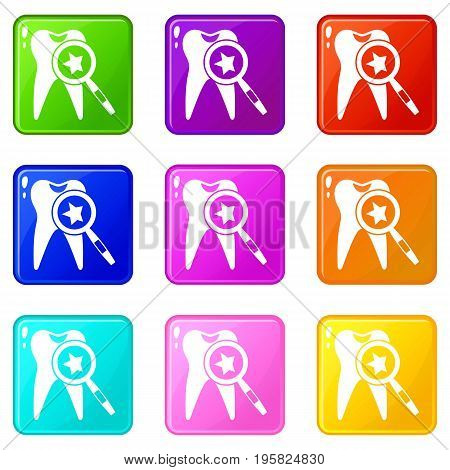 Tooth with magnifying glass icons of 9 color set isolated vector illustration