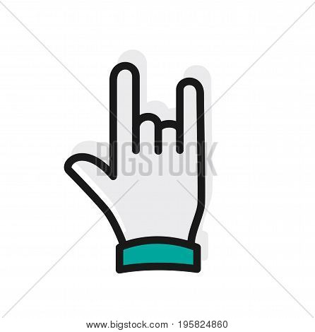 Hand icon. Rock and roll hand sign icon. Vector stock.