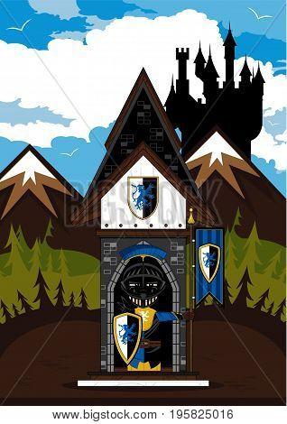 Cartoon Medieval Crusader Knight at Guard Post with Flag